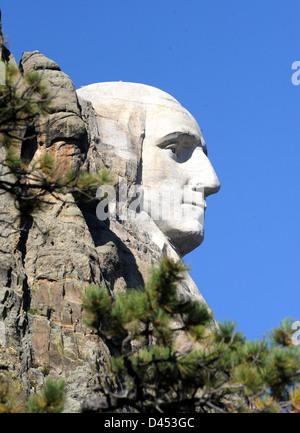 President George Washington Mount Rushmore National Memorial Keystone South Dakota, Mt. Rushmore, Mt Rushmore sculptures, - Stock Photo
