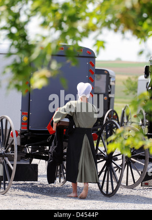 Bare foot Amish girl walks toward her buggy in Pennsylvania Dutch Country, - Stock Photo