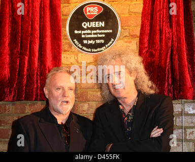 ROGER TAYLOR & BRIAN MAY PRS FOR MUSIC HONOURS QUEEN WITH A HERITAGE AWARD IMPERIAL COLLEGE LONDON  UK 05 March - Stock Photo