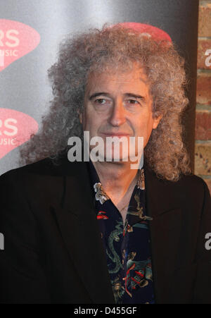 BRIAN MAY PRS FOR MUSIC HONOURS QUEEN WITH A HERITAGE AWARD IMPERIAL COLLEGE LONDON  UK 05 March 2013 - Stock Photo