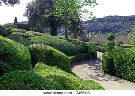 The gardens of the château de Marqueyssac in Vézac, Dordogne, 24, Périgord, Aquitaine, France, Europe - Stock Photo