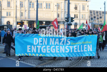Chemnitz, Germany. 5th March 2013. Counterdemonstrators protest against a neo-Nazi rally in Chemnitz, Germany, 05 - Stock Photo