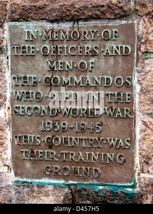The plaque on The Commando Memorial, Spean Bridge, Fort William, Scotland - Stock Photo
