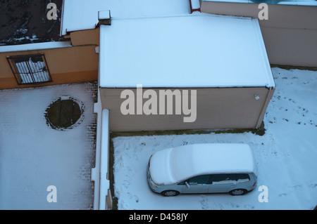 Courtyard of residential building during winter Zizkov district Prague Czech Republic Europe - Stock Photo