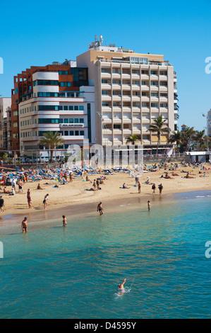 Playa de las Canteras beach Santa Catalina district Las Palmas city Gran Canaria island the Canary Islands Spain - Stock Photo