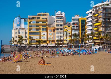Playa de las Canteras beach Santa Catalina district Las Palmas de Gran Canaria island the Canary Islands Spain Europe - Stock Photo