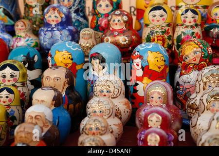 Souvenirs,  Matroschka Puppen, Russian nesting dolls, Riga, Latvia - Stock Photo