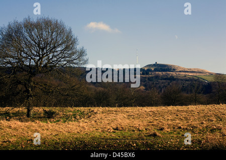 Rivington Pike with the Television mast on  Winter Hill background in winter Rivington near Horwich Bolton Lancashire - Stock Photo