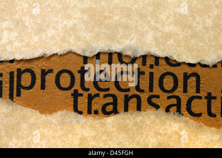 Protection text on paper hole - Stock Photo