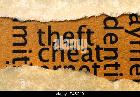 Theft cheat text on paper hole - Stock Photo