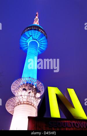 N Seoul Tower in Seoul, South Korea. - Stock Photo
