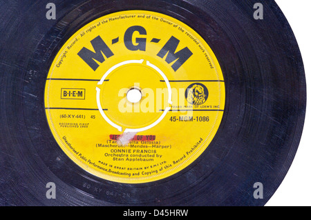 MGM Record Label on a 45 RPM Single Vinyl Record - Stock Photo