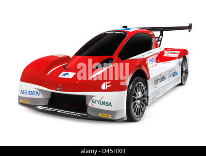 2012 Mitsubishi i-MiEV Evolution electric race car isolated on white background - Stock Photo