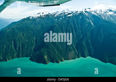 An aerial view of the north shore of King Island in the Burke Channel, along British Columbia's Central Pacific - Stock Photo