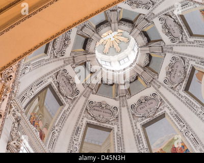 Central Dome Salzburg Cathedral detail. The soaring white central dome of this great Salzburg church - Stock Photo