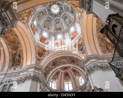 Central Dome Salzburg Cathedral with organ. The soaring white central dome of this great Salzburg church in context. - Stock Photo