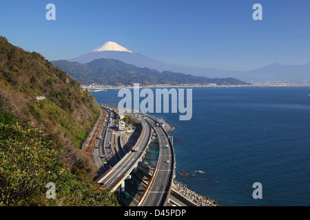 Mt. Fuji and Tomei Expressway, Shizuoka, Japan - Stock Photo