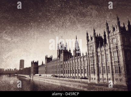 westminster on textured background - Stock Photo