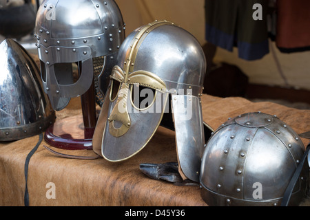 Viking helmets near Jorvik Museum - Stock Photo