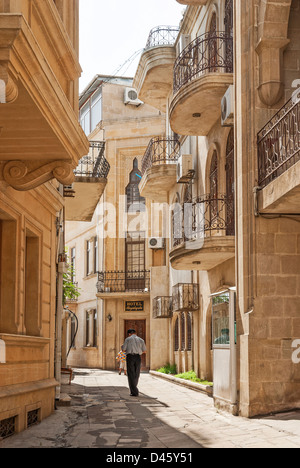 architecture in baku azerbaijan street - Stock Photo