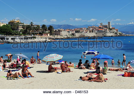 06, Antibes, the Salis Beach and the old town, Alpes-Maritimes, d'Azur, France - Stock Photo