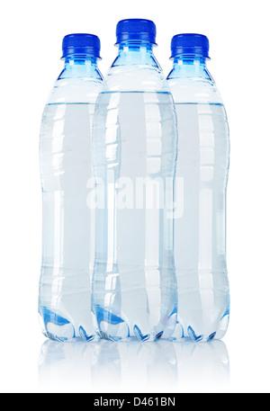 Three Soda water bottle isolated on white background - Stock Photo