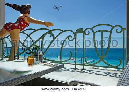 Terrace, Palace of the Mediterranean, Nice, 06, Côte d'Azur, Alpes Maritimes, France - Stock Photo