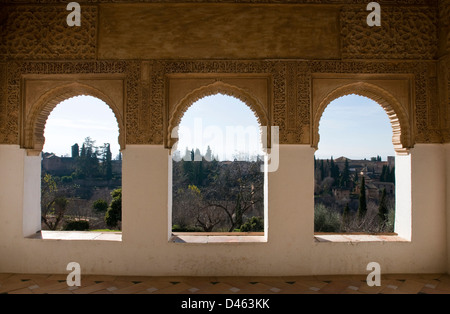 Panoramic view of the Alhambra from the Generalife Gardens - Stock Photo