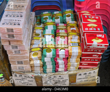 Chinatown gift shop in New York City with soaps from China for sale - Stock Photo