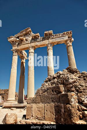 Ancient temple of Apollo in Side, Antalya, Turkey. - Stock Photo