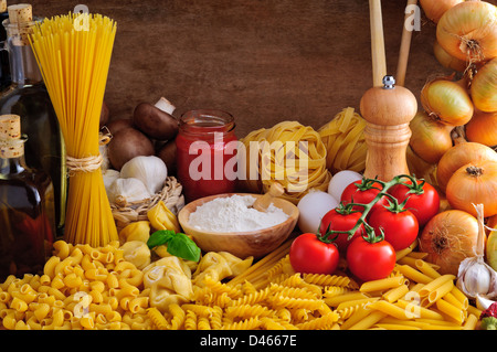 Still life with traditional italian pasta and ingredients - Stock Photo