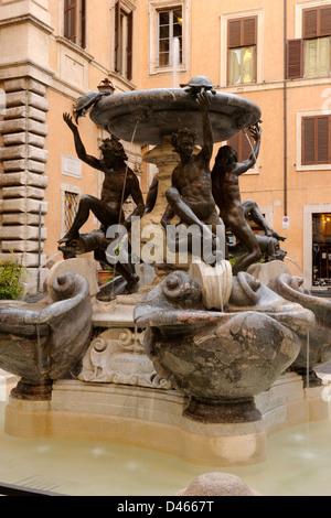 italy, rome, jewish ghetto, piazza mattei, fontana delle tartarughe - Stock Photo