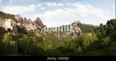 Castelmezzano One of the Most Beautiful Villages of Italy panoramic view - Stock Photo