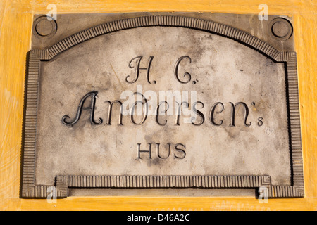Hans Christian Andersen's Hus (house) plaque, birthplace of the famous writer - Stock Photo