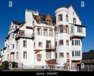Buildings with flats named Ramsay Garden in Edinburgh at Ramsay Lane as seen here from south on Edinburgh Castle - Stock Photo