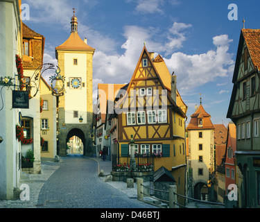 DE - BAVARIA: Plönlein Gate at Rothenburg-ob-der-Tauber - Stock Photo