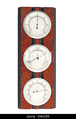 old instrument of measurement - thermometer, barometer and hygrometer on a wooden frame - Stock Photo