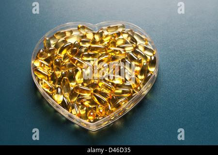 Evening primrose oil capsules - Stock Photo