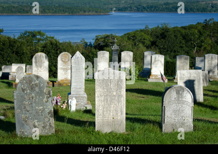 An old Maine cemetery with a beautiful view over the Penobscot River - Stock Photo