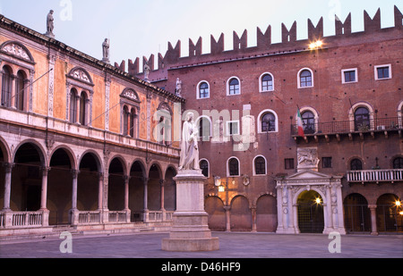 Verona - Piazza dei Signori and Dante Alighieri memorial. - Stock Photo