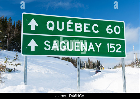 Directional road sign in Camp Mercier, province of Quebec, Canada. - Stock Photo