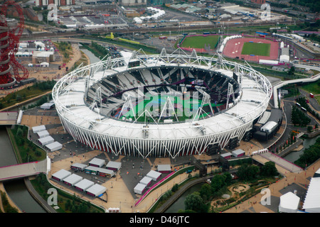 London Olympic Stadium from the air - Stock Photo