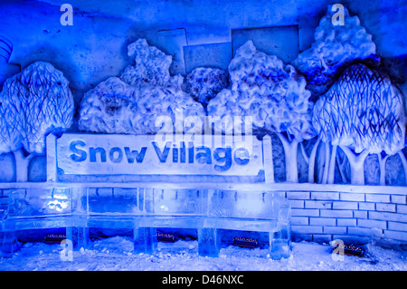 Signs in lobby, Montreal Snow Village, Ile Sainte-Helene, Parc Jean-Drapeau, Montreal, Quebec, Canada. - Stock Photo