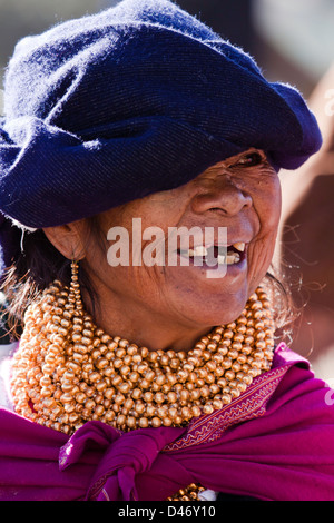 An older native woman in an Indian market in the town of Otavalo, Equador. NMR - Stock Photo