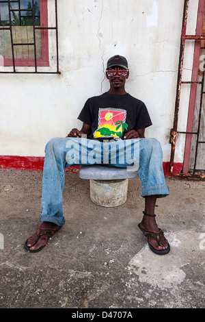 Portrait of a local man, Micoud, St Lucia - Stock Photo