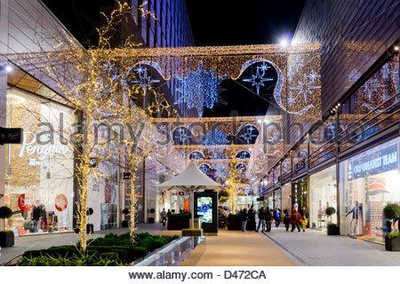 UK, England, London, Stratford Westfield shopping center Christmas - Stock Photo