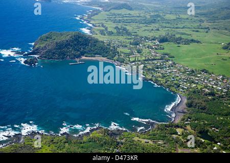Hana Bay on the northeast coast of Maui and the town of Hana, Maui, Hawaii. - Stock Photo