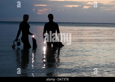 Divers (MR) entering the ocean with lights at dusk, Indonesia. - Stock Photo