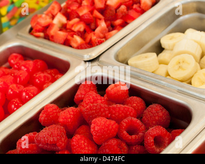 ‎Frozen yogurt toppings bar. Yogurt toppings ranging from fresh fruits, nuts, fresh-cut candies, syrups and sprinkles. - Stock Photo