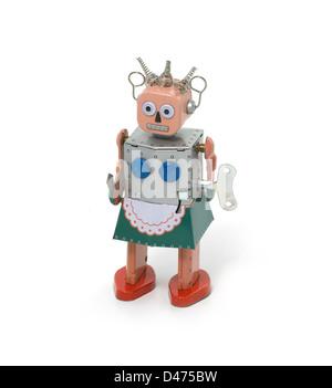Tin robot cut out white background - Stock Photo